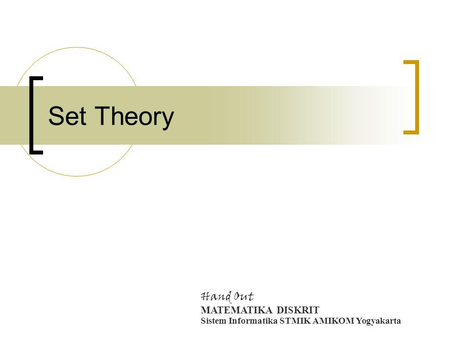 Set Theory Hand Out MATEMATIKA DISKRIT Sistem Informatika STMIK AMIKOM Yogyakarta