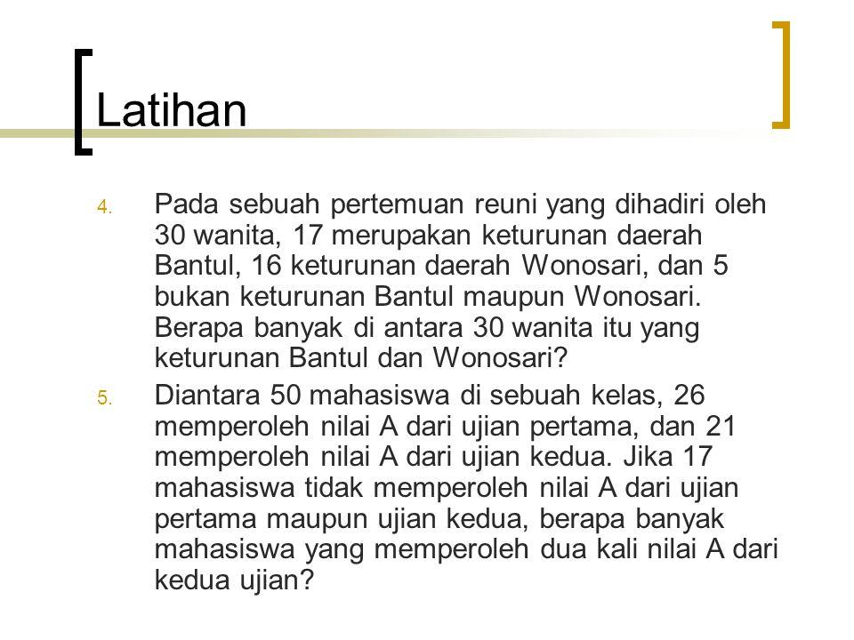 Latihan 4. Pada sebuah pertemuan reuni yang dihadiri oleh 30 wanita, 17 merupakan keturunan daerah Bantul, 16 keturunan daerah Wonosari, dan 5 bukan k