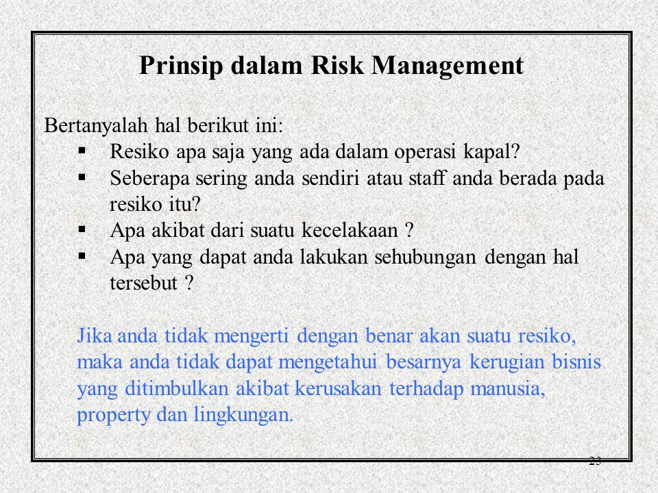 22 Overview of Risk Management Definisi dari British standard (BS 4778): suatu proses dimana keputusan dibuat untuk menerima resiko yg telah diassessmen atau diketahui dan/atau tindakan yang dilakukan untuk mengurangi akibat atau kemungkinan dari suatu kejadian
