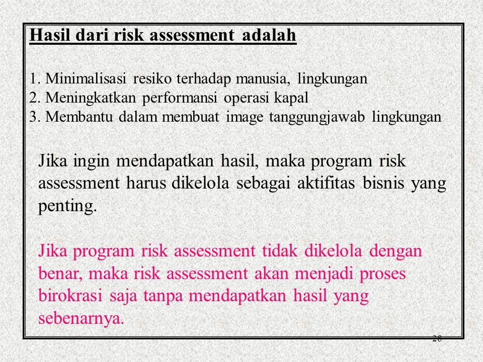 27 Risk Assessment Purpose of Risk Assessment Untuk menjamin bahwa pemeriksaan terhadap operasi kapal dilakukan secara hati-hati untuk menentukan apa saja yang dapat menimbulkan bahaya dan apakah kontrol yang ada telah memadahi.