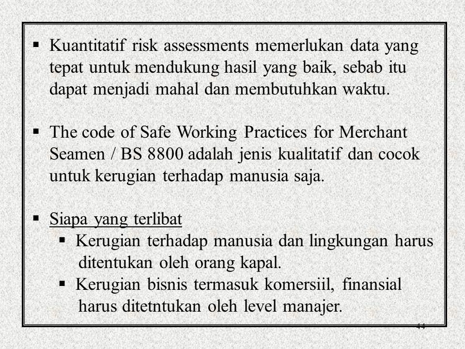 44  Kuantitatif risk assessments memerlukan data yang tepat untuk mendukung hasil yang baik, sebab itu dapat menjadi mahal dan membutuhkan waktu.