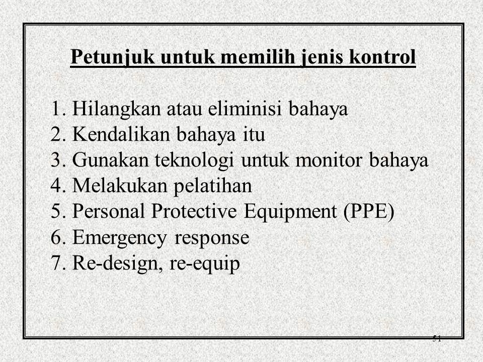 51 Petunjuk untuk memilih jenis kontrol 1.Hilangkan atau eliminisi bahaya 2.
