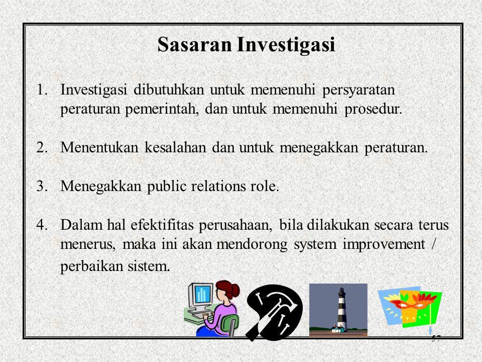 56 Prinsip investigasi yang efektif 1.Jelaskan apa yang telah terjadi 2.Tentukan penyebab utama 3.Identifikasi kecenderungan 4.Perbaiki assessment of risk (assessment resiko) 5.Kembangkan kontrol 6.Tunjukan perhatian