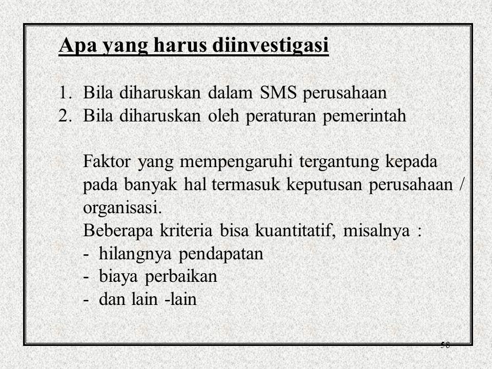 57 Sasaran Investigasi 1.Investigasi dibutuhkan untuk memenuhi persyaratan peraturan pemerintah, dan untuk memenuhi prosedur.