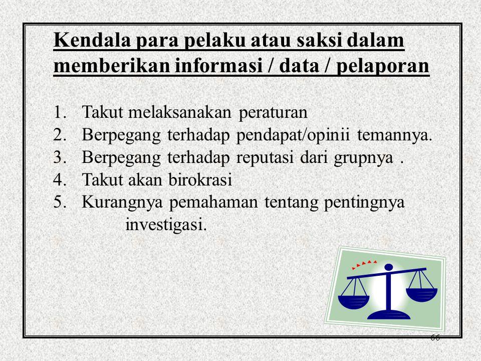 66 Kendala para pelaku atau saksi dalam memberikan informasi / data / pelaporan 1.