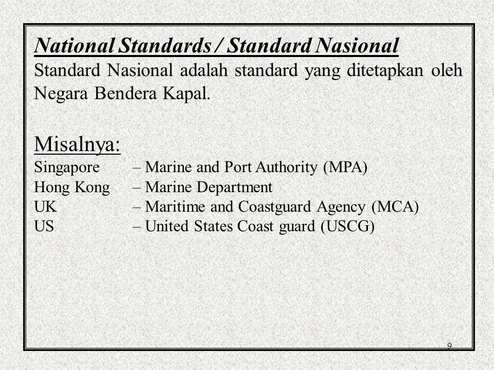 9 National Standards / Standard Nasional Standard Nasional adalah standard yang ditetapkan oleh Negara Bendera Kapal.