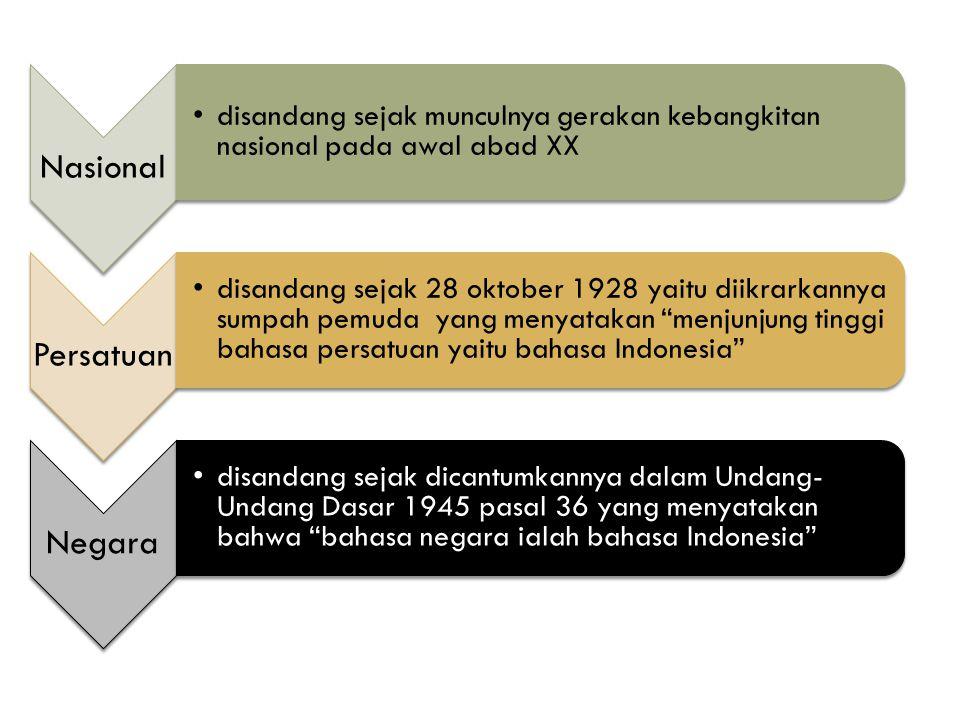 Nasional disandang sejak munculnya gerakan kebangkitan nasional pada awal abad XX Persatuan disandang sejak 28 oktober 1928 yaitu diikrarkannya sumpah