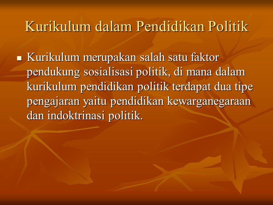 Kurikulum dalam Pendidikan Politik Kurikulum merupakan salah satu faktor pendukung sosialisasi politik, di mana dalam kurikulum pendidikan politik ter
