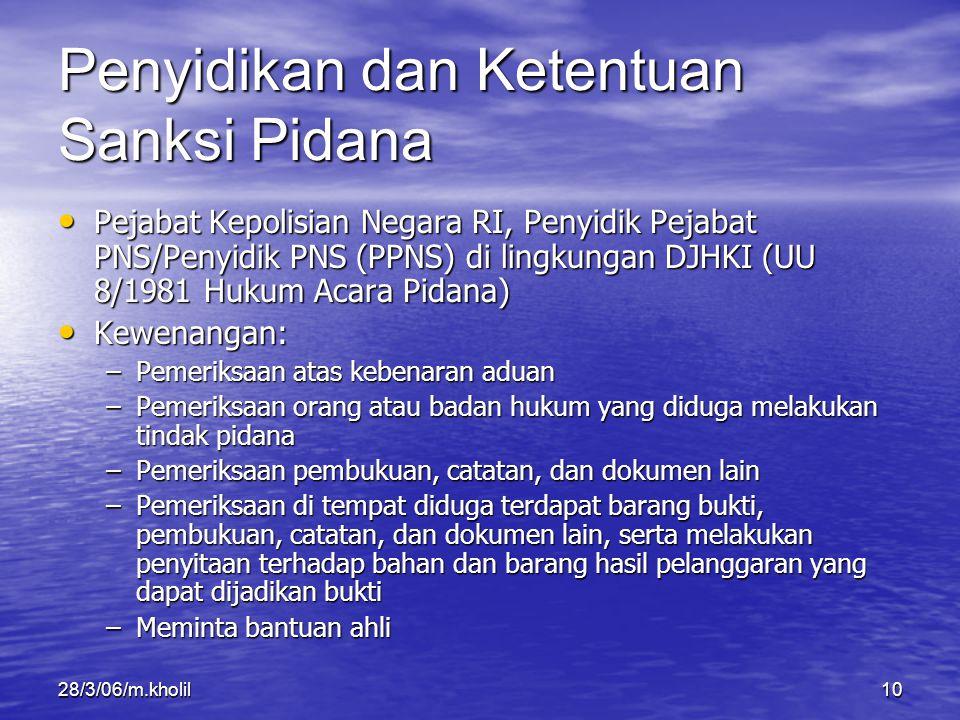 28/3/06/m.kholil10 Penyidikan dan Ketentuan Sanksi Pidana Pejabat Kepolisian Negara RI, Penyidik Pejabat PNS/Penyidik PNS (PPNS) di lingkungan DJHKI (