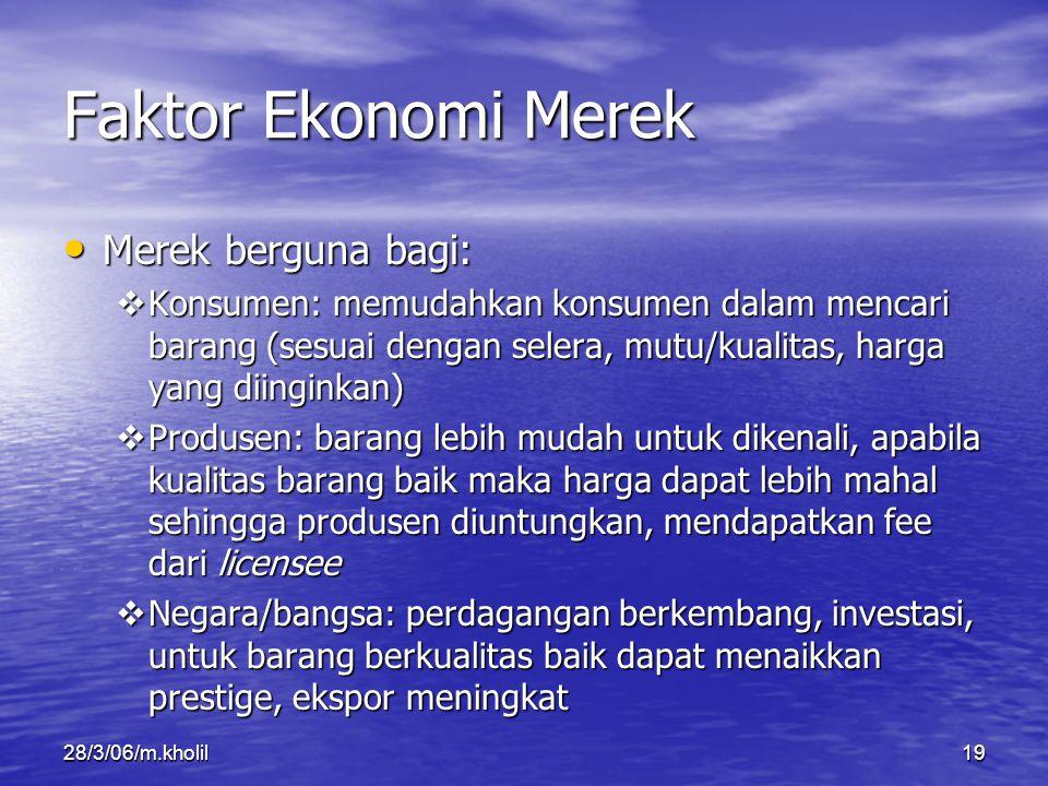 28/3/06/m.kholil19 Faktor Ekonomi Merek Merek berguna bagi: Merek berguna bagi:  Konsumen: memudahkan konsumen dalam mencari barang (sesuai dengan se