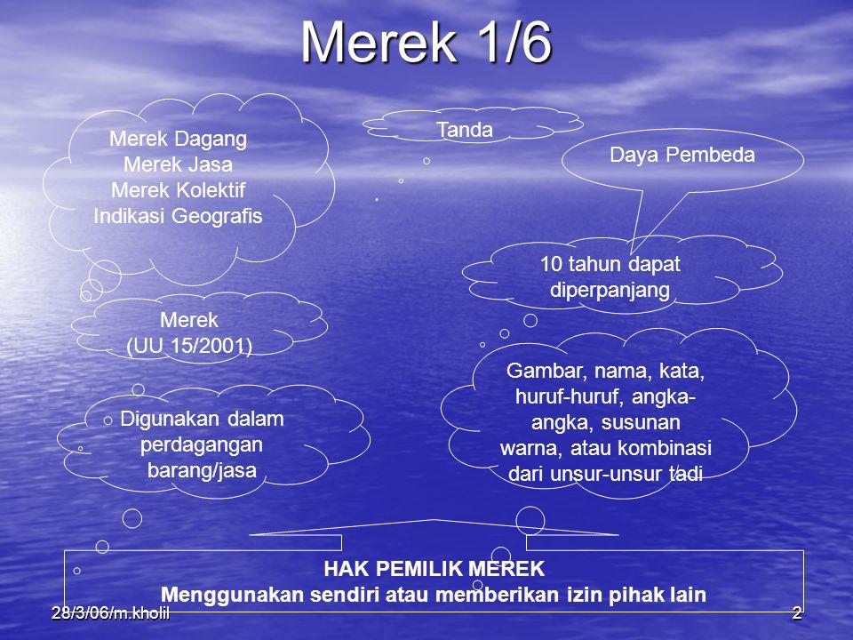28/3/06/m.kholil2 Merek 1/6 Merek Dagang Merek Jasa Merek Kolektif Indikasi Geografis Tanda Daya Pembeda Merek (UU 15/2001) Digunakan dalam perdaganga