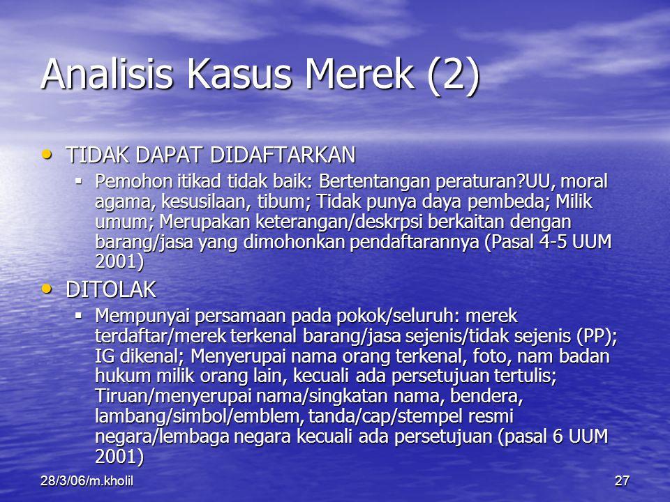 28/3/06/m.kholil27 Analisis Kasus Merek (2) TIDAK DAPAT DIDAFTARKAN TIDAK DAPAT DIDAFTARKAN  Pemohon itikad tidak baik: Bertentangan peraturan?UU, mo