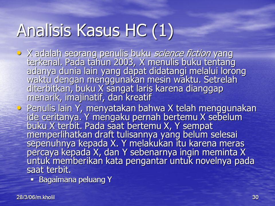 28/3/06/m.kholil30 Analisis Kasus HC (1) X adalah seorang penulis buku science fiction yang terkenal. Pada tahun 2003, X menulis buku tentang adanya d