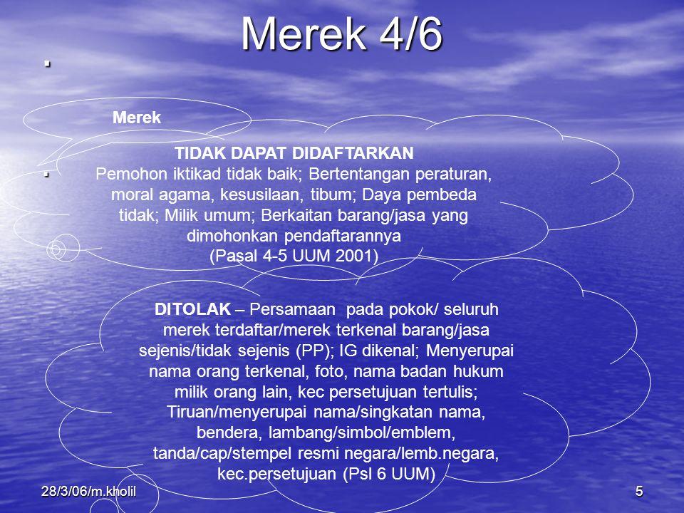 28/3/06/m.kholil5.. Merek 4/6 Merek TIDAK DAPAT DIDAFTARKAN Pemohon iktikad tidak baik; Bertentangan peraturan, moral agama, kesusilaan, tibum; Daya p