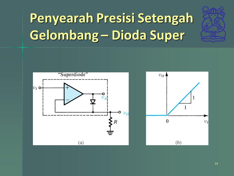 Penyearah Presisi Setengah Gelombang – Dioda Super 16