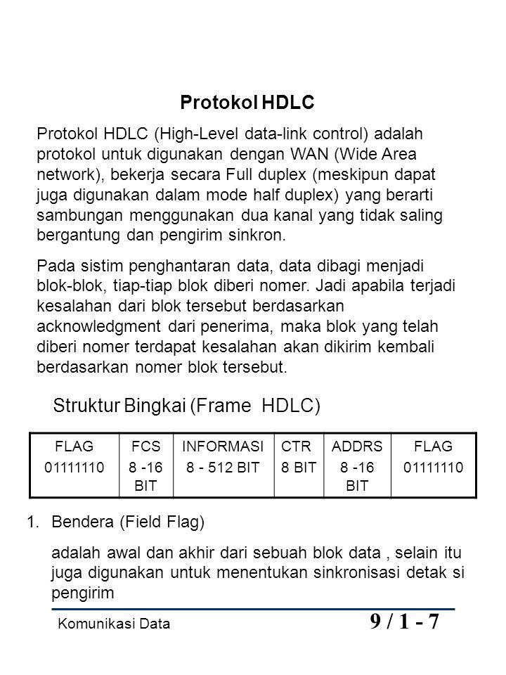 Komunikasi Data 9 / 1 - 7 Protokol HDLC Protokol HDLC (High-Level data-link control) adalah protokol untuk digunakan dengan WAN (Wide Area network), bekerja secara Full duplex (meskipun dapat juga digunakan dalam mode half duplex) yang berarti sambungan menggunakan dua kanal yang tidak saling bergantung dan pengirim sinkron.