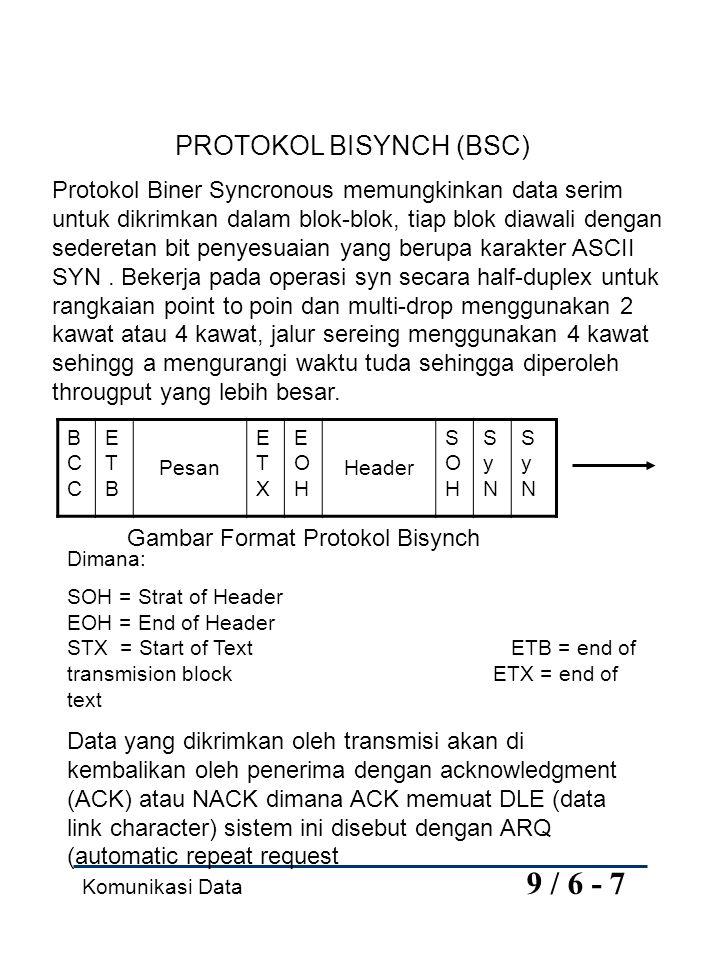 Komunikasi Data 9 / 6 - 7 PROTOKOL BISYNCH (BSC) Protokol Biner Syncronous memungkinkan data serim untuk dikrimkan dalam blok-blok, tiap blok diawali dengan sederetan bit penyesuaian yang berupa karakter ASCII SYN.