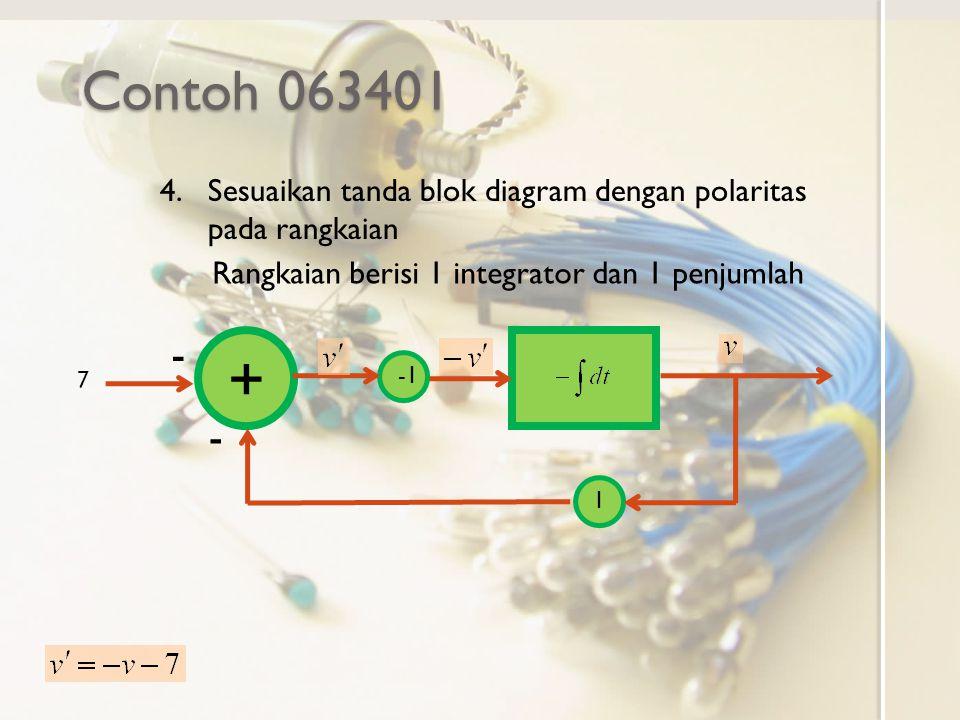 Contoh 063401 7 4.Sesuaikan tanda blok diagram dengan polaritas pada rangkaian Rangkaian berisi 1 integrator dan 1 penjumlah + 1 - -