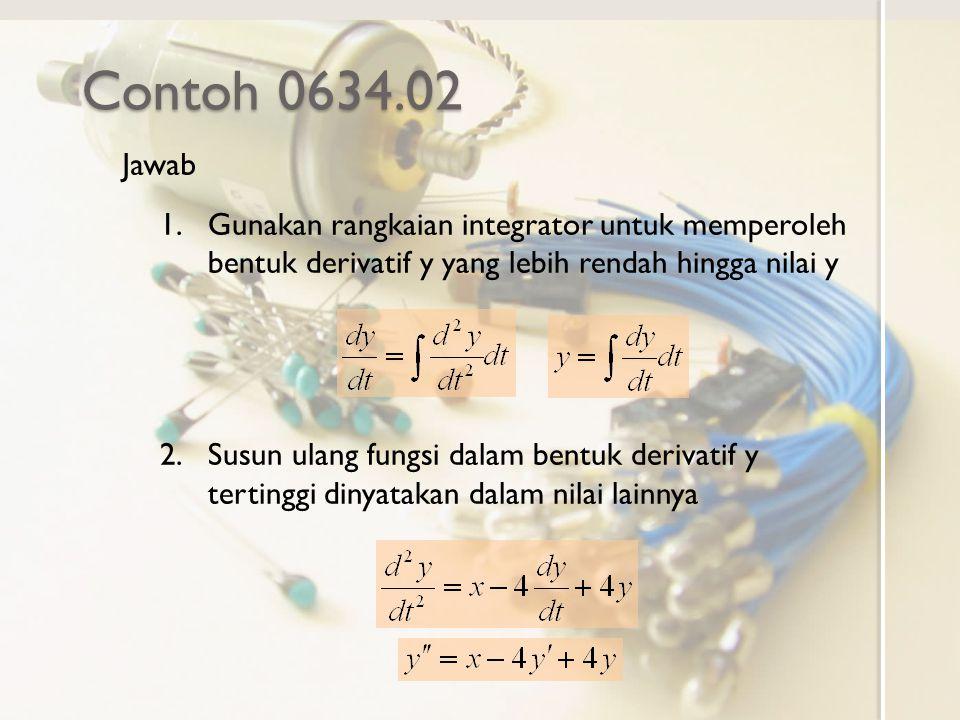 Contoh 0634.02 Jawab 1.Gunakan rangkaian integrator untuk memperoleh bentuk derivatif y yang lebih rendah hingga nilai y 2.Susun ulang fungsi dalam be