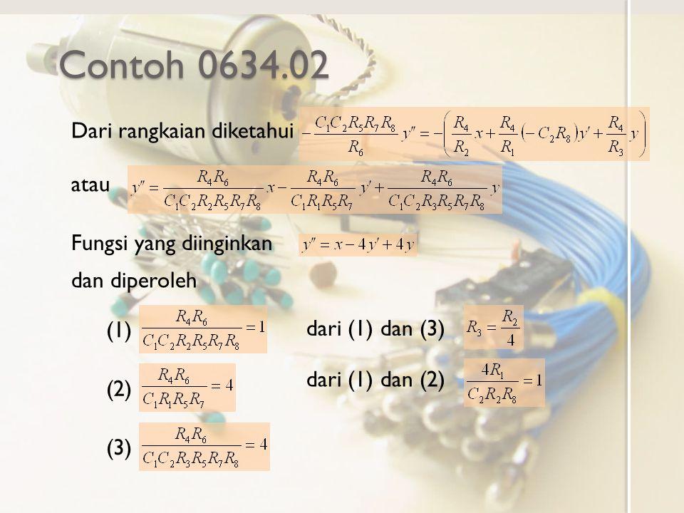 Contoh 0634.02 Dari rangkaian diketahui atau Fungsi yang diinginkan dan diperoleh (1) (2) (3) dari (1) dan (3) dari (1) dan (2)