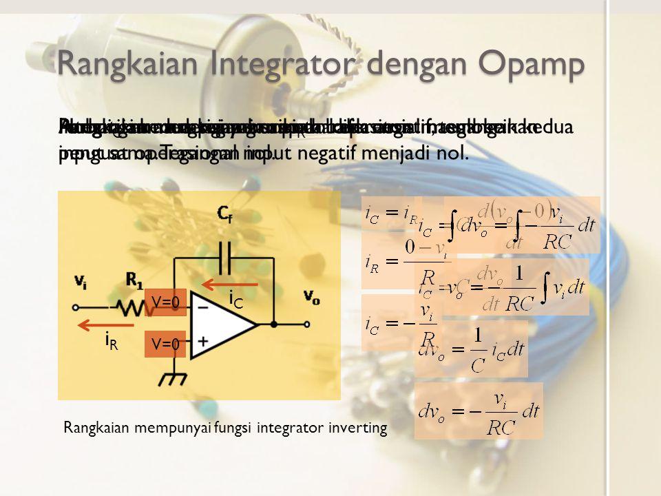 Rangkaian Integrator dengan Opamp Perhatikan rangkaian berikut:Rangkaian mempunyai umpan balik negatif, tegangan kedua input sama. Tegangan input nega