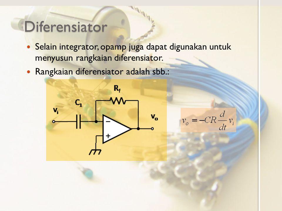 Catatan tentang Integrator dan Diferensiator Untuk pengolahan sinyal rangkaian integrator lebih disukasi dari rangkaian diferensiator Rangkaian integrator menjumlahkan derau pada proses integrasinya sehingga untuk waktu lama menekan derau acak yang masuk Rangkaian diferensiator melihat selisih sinyal pada waktu yang berurutan sehingga menjadi sensitif terhadap derau