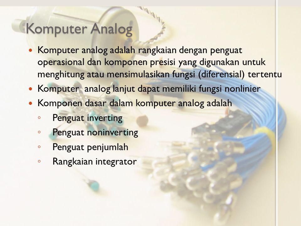 Komputer Analog Komputer analog adalah rangkaian dengan penguat operasional dan komponen presisi yang digunakan untuk menghitung atau mensimulasikan f