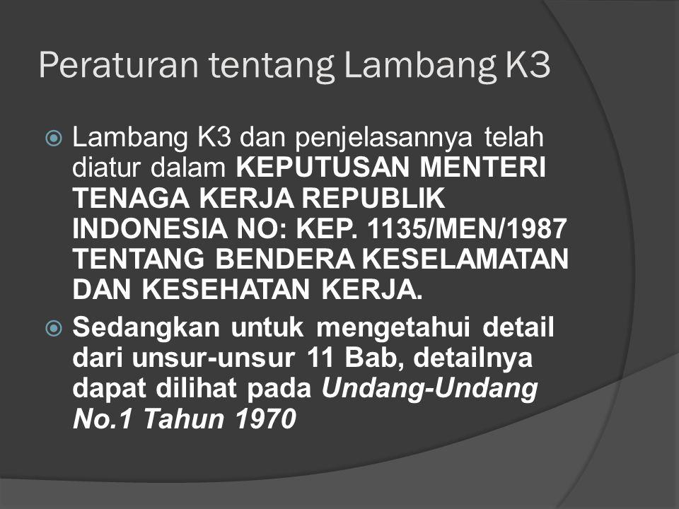 Peraturan tentang Lambang K3  Lambang K3 dan penjelasannya telah diatur dalam KEPUTUSAN MENTERI TENAGA KERJA REPUBLIK INDONESIA NO: KEP. 1135/MEN/198