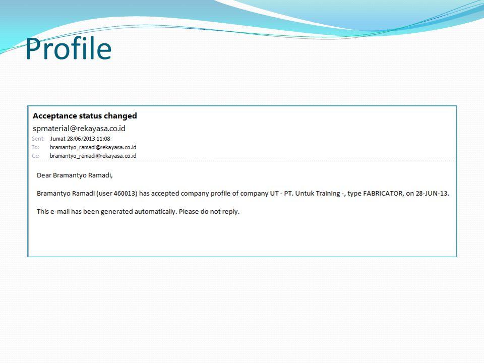 Profile Untuk melihat list di dalam kategori klik tanda + Untuk memilih barang/jasa yang dapat di supply, klik kotak