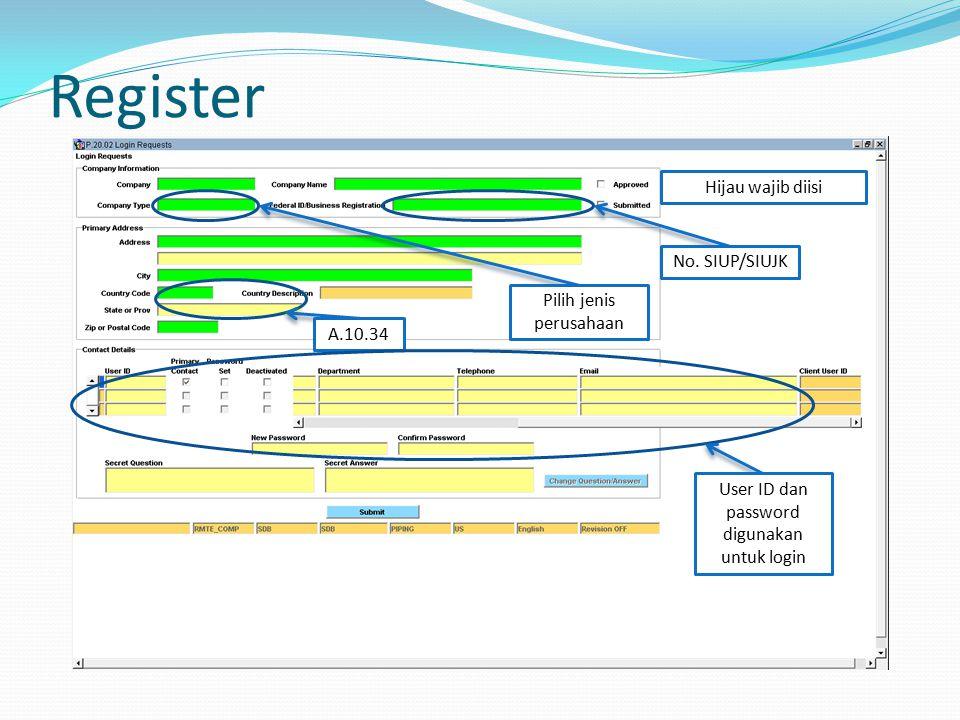 Register Hijau wajib diisi No.