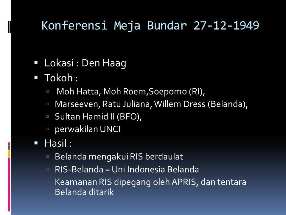 Konferensi Meja Bundar 27-12-1949  Lokasi : Den Haag  Tokoh :  Moh Hatta, Moh Roem,Soepomo (RI),  Marseeven, Ratu Juliana, Willem Dress (Belanda),