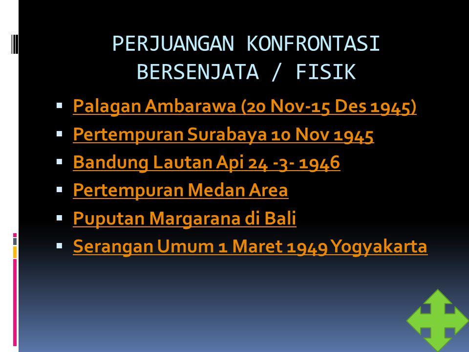 PERJUANGAN KONFRONTASI BERSENJATA / FISIK  Palagan Ambarawa (20 Nov-15 Des 1945) Palagan Ambarawa (20 Nov-15 Des 1945)  Pertempuran Surabaya 10 Nov
