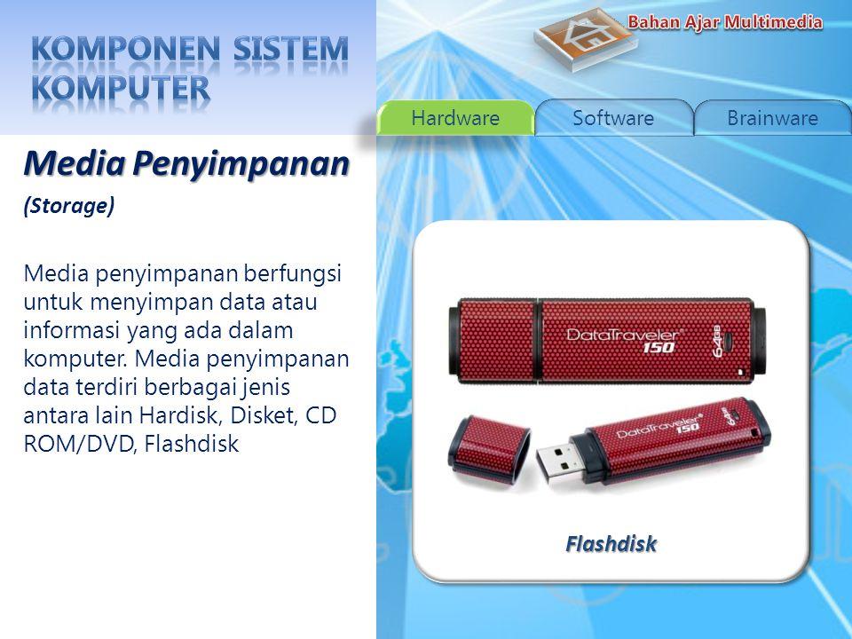 DisketDisket Media Penyimpanan (Storage) Media penyimpanan berfungsi untuk menyimpan data atau informasi yang ada dalam komputer.
