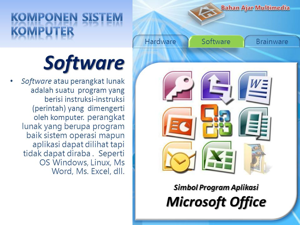 Simbol Sistem Operasi Linux Linux Software Software atau perangkat lunak adalah suatu program yang berisi instruksi-instruksi (perintah) yang dimengerti oleh komputer.