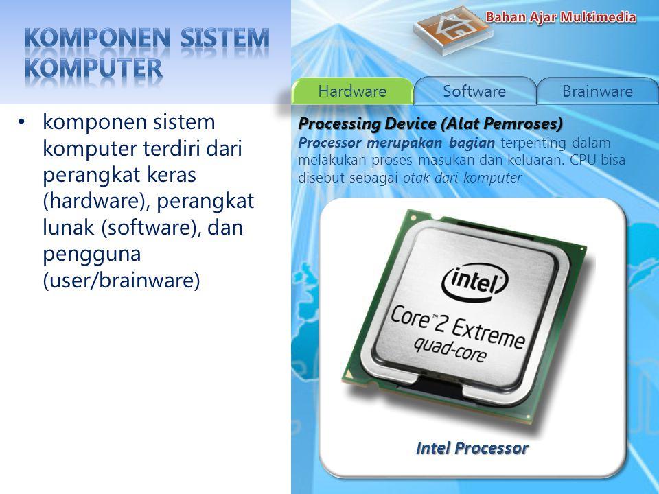 Barcode Scanner komponen sistem komputer terdiri dari perangkat keras (hardware), perangkat lunak (software), dan pengguna (user/brainware) Input Device (Alat Masukan) Perangkat masukan berfungsi untuk memasukkan data atau input untuk diproses menjadi informasi atau keluaran.