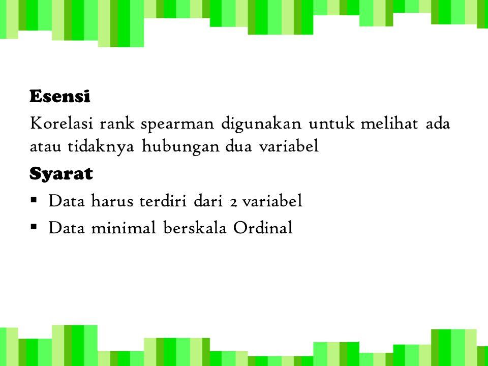 Esensi Korelasi rank spearman digunakan untuk melihat ada atau tidaknya hubungan dua variabel Syarat  Data harus terdiri dari 2 variabel  Data minim
