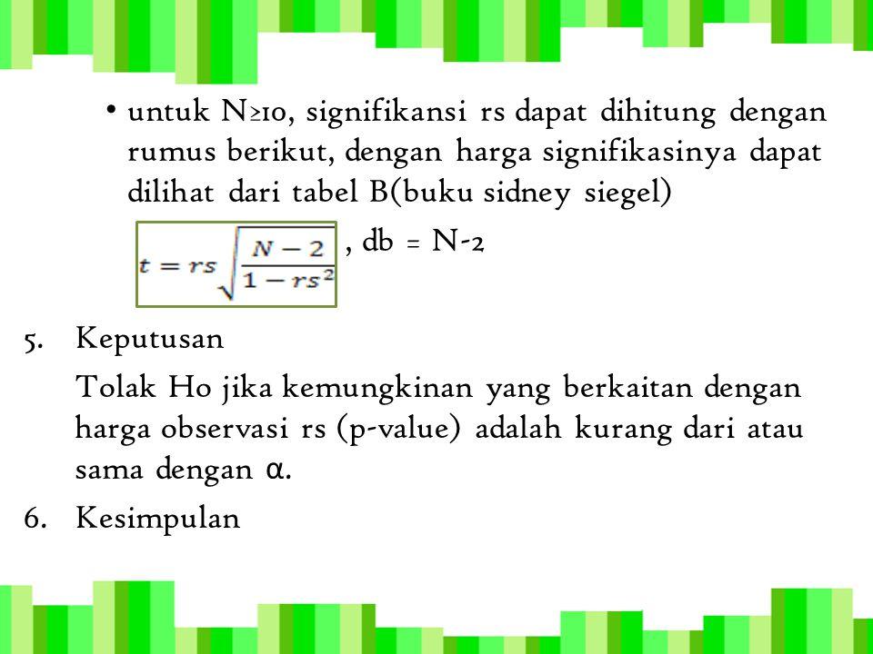 untuk N≥10, signifikansi rs dapat dihitung dengan rumus berikut, dengan harga signifikasinya dapat dilihat dari tabel B(buku sidney siegel), db = N-2