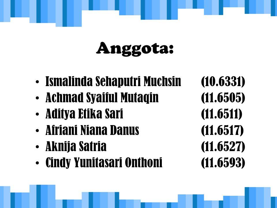 Anggota: Ismalinda Sehaputri Muchsin (10.6331) Achmad Syaiful Mutaqin(11.6505) Aditya Etika Sari(11.6511) Afriani Niana Danus(11.6517) Aknija Satria(1