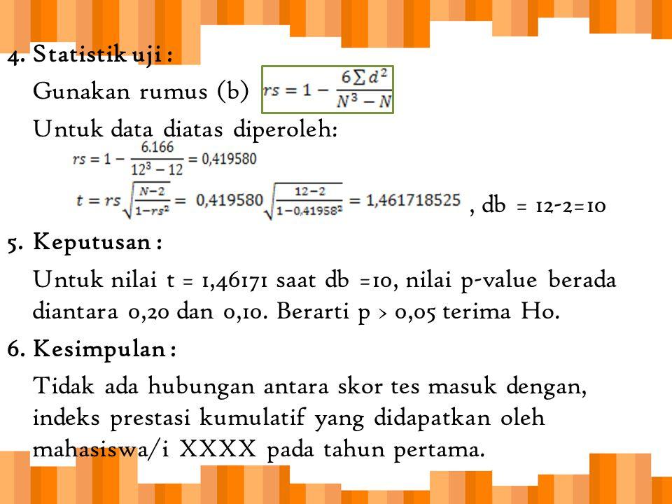 4.Statistik uji : Gunakan rumus (b) Untuk data diatas diperoleh:, db = 12-2=10 5.Keputusan : Untuk nilai t = 1,46171 saat db =10, nilai p-value berada