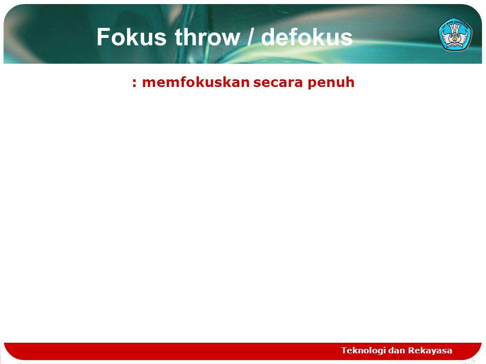 Fokus throw / defokus : memfokuskan secara penuh Teknologi dan Rekayasa