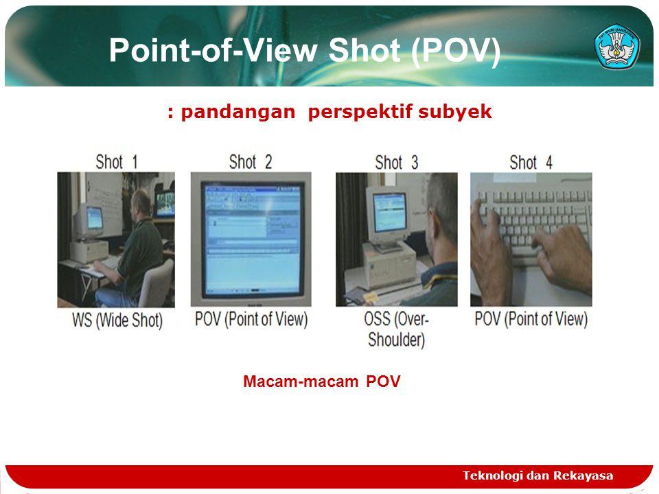 Point-of-View Shot (POV) : pandangan perspektif subyek Teknologi dan Rekayasa Macam-macam POV