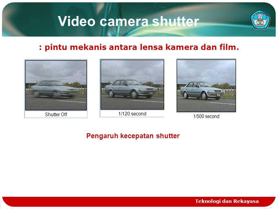 Video camera shutter : pintu mekanis antara lensa kamera dan film. Teknologi dan Rekayasa Pengaruh kecepatan shutter