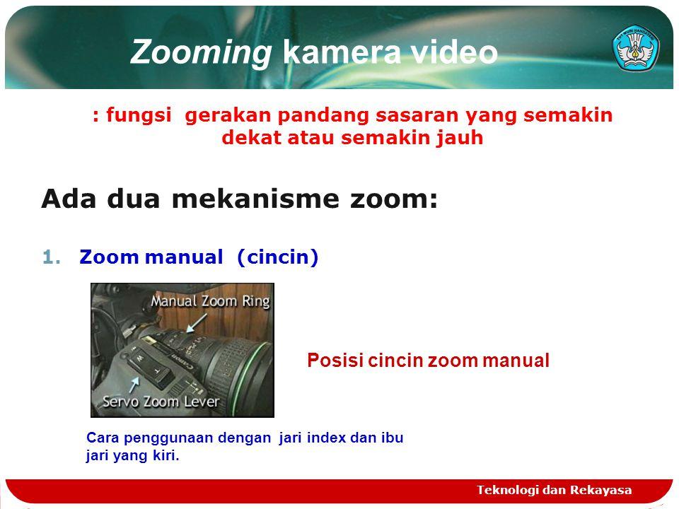 Zooming kamera video : fungsi gerakan pandang sasaran yang semakin dekat atau semakin jauh Ada dua mekanisme zoom: 1.Zoom manual (cincin) Teknologi da