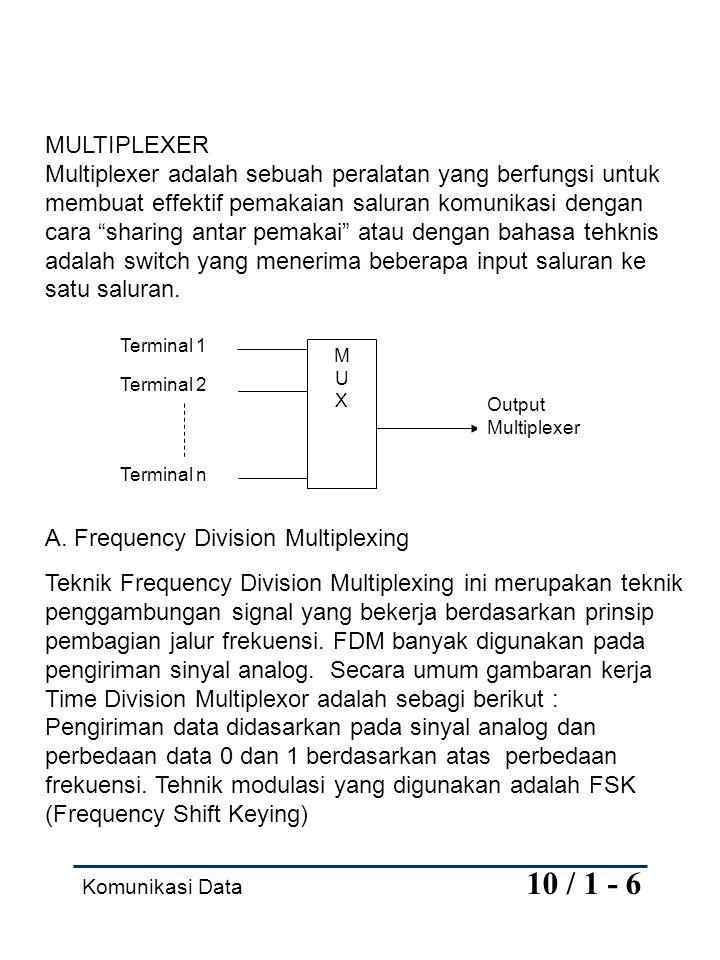 Komunikasi Data 10 / 1 - 6 MULTIPLEXER Multiplexer adalah sebuah peralatan yang berfungsi untuk membuat effektif pemakaian saluran komunikasi dengan c