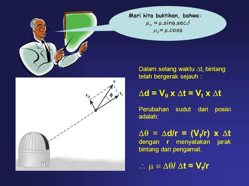Mari kita buktikan, bahwa:    sin  sec     cos  Dalam selang waktu  t, bintang telah bergerak sejauh :  d = V  x  t = V t x  t