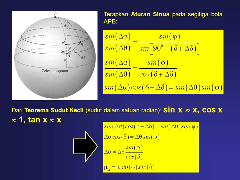 Terapkan Aturan Sinus pada segitiga bola APB: Dari Teorema Sudut Kecil (sudut dalam satuan radian): sin x  x, cos x  1, tan x  x.