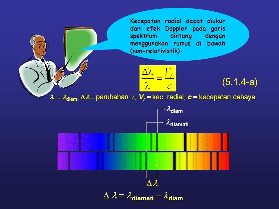  (5.1.4-a)  = diamati  diam diam  diamati  diam,  perubahan, V r = kec. radial, c = kecepatan cahaya Kecepatan radial dapat diukur dari
