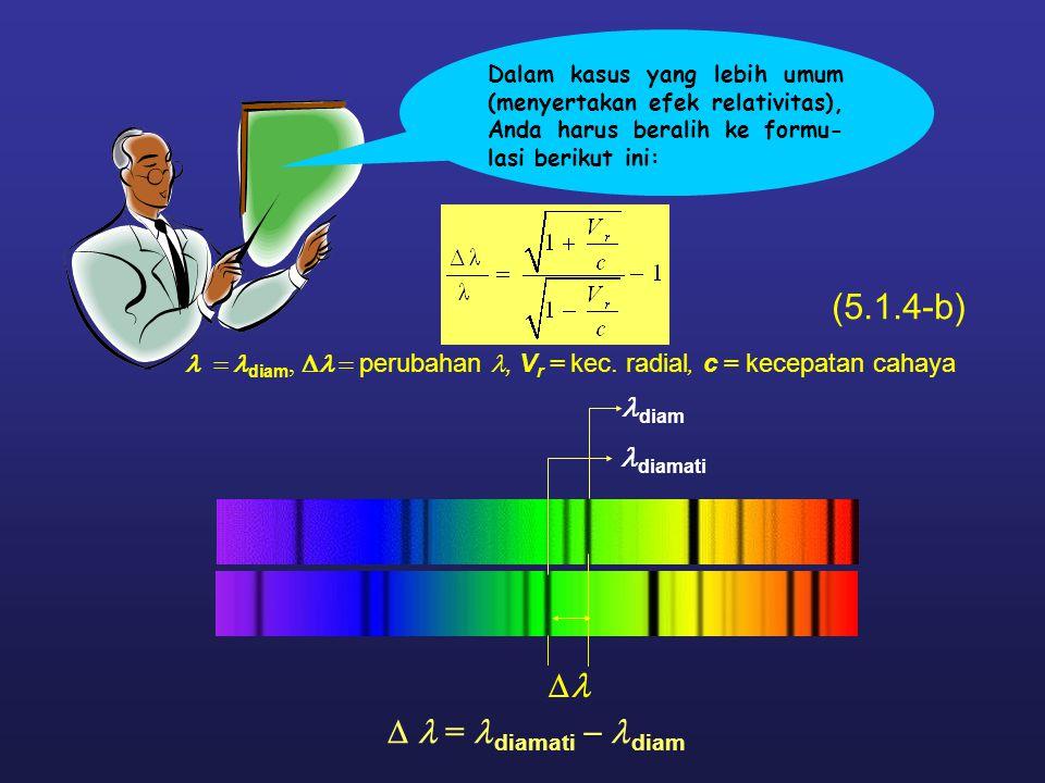  (5.1.4-b)  = diamati  diam diam  diamati  diam,  perubahan, V r = kec. radial, c = kecepatan cahaya Dalam kasus yang lebih umum (menyer