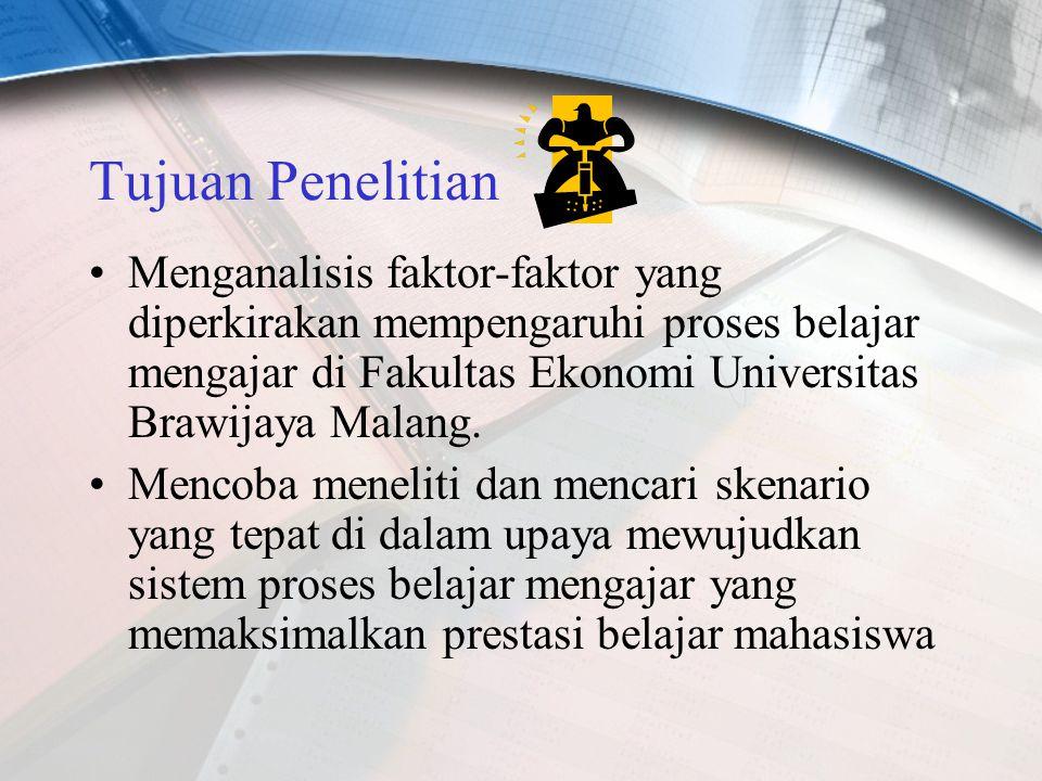 Tujuan Penelitian Menganalisis faktor-faktor yang diperkirakan mempengaruhi proses belajar mengajar di Fakultas Ekonomi Universitas Brawijaya Malang.