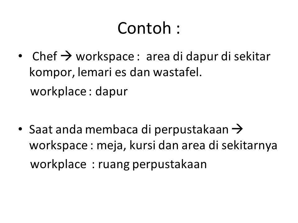 Contoh : Chef  workspace : area di dapur di sekitar kompor, lemari es dan wastafel.